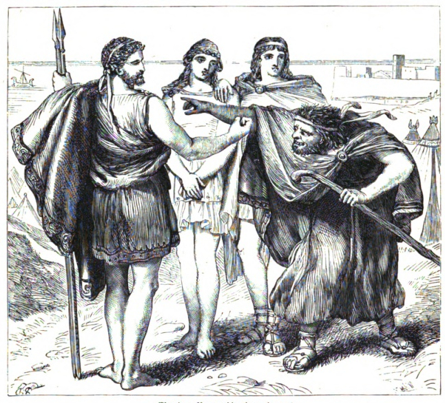 Illustration by H. C. Selous (1886) Thersites accosts Achilles from Troilus and Cressida (Cassell's Illustrated Shakespeare). In the public domain.